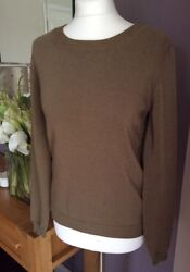 ⭐️ Massimo Dutti Olive Long Sleeve Gold Button Back Jumper M New