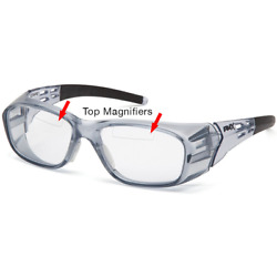 Pyramex Emerge+ Bifocal Safety Glasses Trans Gray Clear with Upper Magnifier
