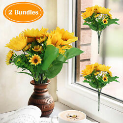Artificial Sunflowers Bouquet Fake Silk Flowers Home Office Party Wedding Decor $7.98