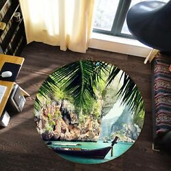 3D Canyon Boat Scenery 8 Non Slip Rug Mat Room Mat Round Elegant Photo Carpet CA