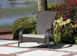 Outdoor Patio Wicker Chairs With Beige Cushion Mocha Furniture For Garden Relax