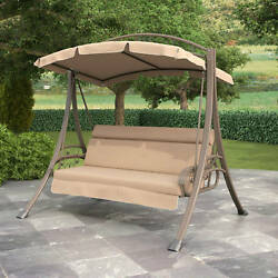 Furniture Deck Porch Swing With Canopy Cover Garden Deck 3 Seat Patio Outdoor