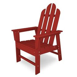 POLYWOOD Red Adirondack Outdoor Dining Chair Solid Durable Heavy Duty Plastic