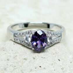 ASTONISHING 1 CT OVAL AMETHYST PURPLE 925 STERLING SILVER RING SIZE 5-10