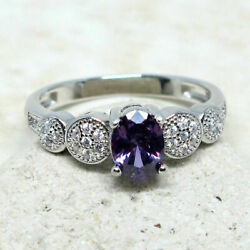 BEAUTIFUL 1 CT OVAL AMETHYST PURPLE 925 STERLING SILVER RING SIZE 5-10