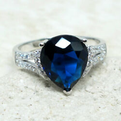 SUPERB 3 CT PEAR SAPPHIRE BLUE 925 STERLING SILVER RING SIZE 5-10