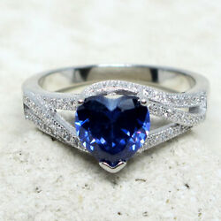 GORGEOUS 2 CT HEART TANZANITE BLUE 925 STERLING SILVER RING SIZE 5-10