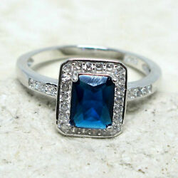 SUPERB 2 CT RECTANGULAR SAPPHIRE BLUE 925 STERLING SILVER RING SIZE 5-10