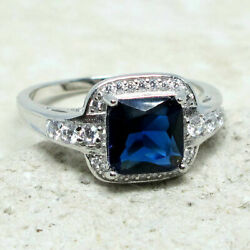 SUPERB 2.5 CT PRINCESS SAPPHIRE BLUE 925 STERLING SILVER RING SIZE 5-10