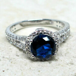 SUPERB 2 CT ROUND SAPPHIRE BLUE 925 STERLING SILVER RING SIZE 5-10