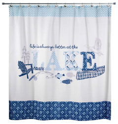 Lake Shower Curtain Bathroom Accessories Cabin Decor Life House Themed Fishing