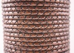 6mm Genuine Round Bolo Braided Leather Cord Rose Brown
