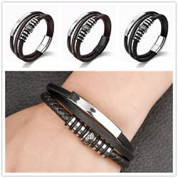 1 Pcs Multilayer Men Braided Leather Bracelet Punk Fashion Bangles Black Brown