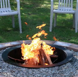 27 Inch Durable Steel Fire Pit Rim Outdoor Campfire Ring in Black