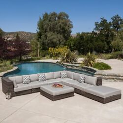 Patio & Garden Furniture Set 8 Pc Sunbrella Fabric Wicker Outdoor Sectional Sofa