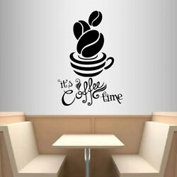 Vinyl Decal Coffee Time Coffee Cup Kitchen Coffee Shop Café Wall Sticker 1896 $27.99