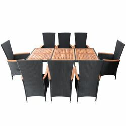 Patio Rattan Dining Set 9 Piece Table High Back Armchairs Outdoor Deck Furniture