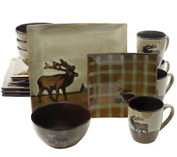 Lake House Furnishings Stuff Outdoor Themed Dinnerware Set Log Cabin Rustic NEW