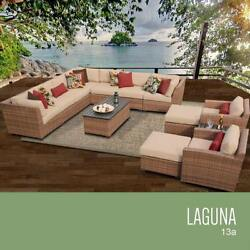 TK Classics 13 Piece Laguna Outdoor Wicker Patio Furniture Set Wheat