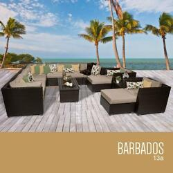 TK Classics 13 Piece Barbados Outdoor Wicker Patio Furniture Set Wheat