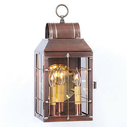 Primitive Colonial Country Martha's Wall Lantern in Antique Copper