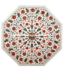 White Marble Dining Room Table Top Carnelian Floral Inlay Art Patio Decor H5348