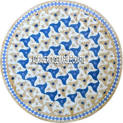 Marble Kitchen Center Table Marquetry Inlay Lapis Gemstone Outdoor Decor H3896