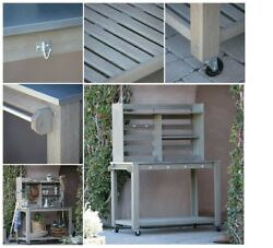 Potting Bench decor for outside garden work With Storage & wheels Cottonwood