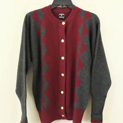 Vintage Chanel Paris 100% Pure Cashmere Cardigan Sweater Gray Red Womens Small