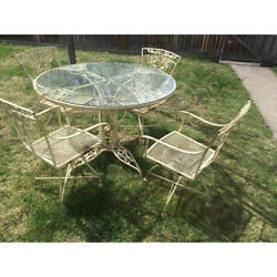 Vintage Woodard Wrought Iron Patio Set- Rose- glass table top  4 swivel chairs