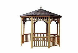 12 ft. San Marino Round Gazebo Wood Home Outdoor Shed Garden Patio Decoration