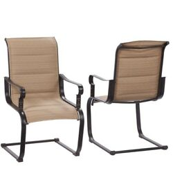 Outdoor Dining Chair Padded Dining Chair Comfortable Lounge Chair 2pk Tan Seat