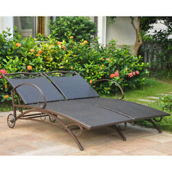 Dark Brown Resin Wicker Double Chaise Patio Lounge Chair Outdoor Home Furniture
