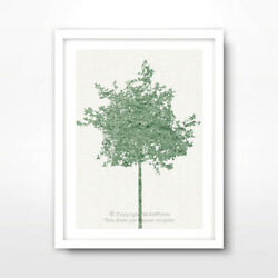 TREE GREEN ART PRINT Poster Home Decor Wall Trees Picture Artwork A4 A3 A2 Size GBP 11.99