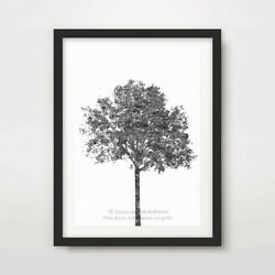 BLACK WHITE TREE ART PRINT Poster Home Decor Wall Trees Picture Artwork A4 A3 A2 GBP 11.99