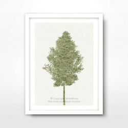 TREE GREEN ART PRINT Poster Home Decor Wall Trees Picture Artwork Nature Shape GBP 11.99