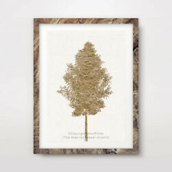 TREE YELLOW ART PRINT Poster Home Decor Wall Trees Picture Artwork Rustic GBP 16.99