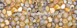 Marble Kitchen Table Top Yellow Agate Inlaid Precious Stones Outdoor Decor H5608