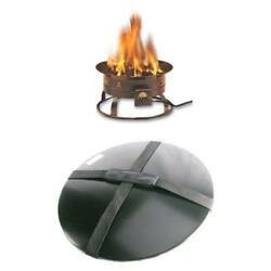 Heininger 58000 BTU Portable Propane Outdoor Fire Pit and Cover with...