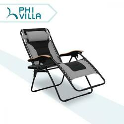 PHI VILLA Oversize XL Padded Zero Gravity Lounge Chair Patio Adjustable...