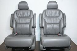 05-10 Honda Odyssey Middle Row Bucket Seats Gray Leather OEM Factory