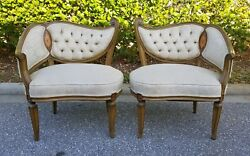 Unique Pair of Hollywood Regency Wing Back Fireside Corner Chairs French Settees