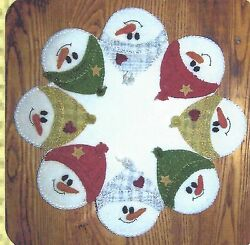 Snow Faces felted wool applique penny rug pattern by Cath's Pennies Designs