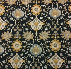 BALLARD DESIGNS LINDOS BLUE GEOMETRIC FLORAL TAPESTRY LOOK FABRIC BY YARD 54quot; W $14.99