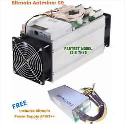 Bitmain AntMiner S9 13.5THs+- with free Power supply APW3++  From USA.