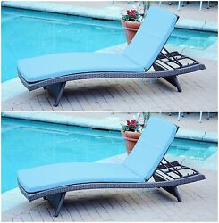 2 Piece Light Blue Cushion Resin Wicker Chaise Lounge Home Outdoors Furniture