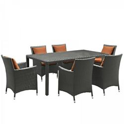 Modway EEI-2271-CHC-TUS-SET Sojourn 7 Piece Outdoor Patio Sunbrella® Dining Set