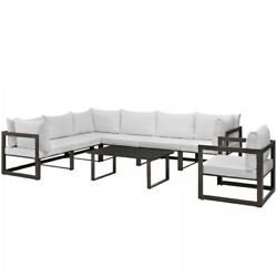 Modway EEI-1736-BRN-WHI-SET Fortuna 8 Piece Outdoor Patio Sectional Sofa Set In
