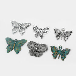 2 pcs Antique Silver  Verdigris Patina Large Butterfly Charms Pendants Findings $3.09