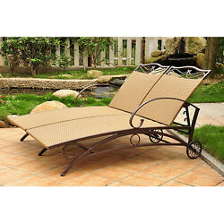 Light Brown Resin Wicker Double Chaise Patio Lounge Chair Outdoor Home Furniture